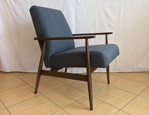 Mid Century Modern Armchair, Lounge Navy Blue Chair, Handmade .