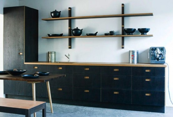 Dark Natural Wood Kitchen Furniture Collection - DigsDi