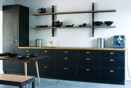 Dark Natural Wood Kitchen Furniture Collection (With images .