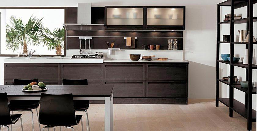 Contemporary Kitchen Furniture made of Dark Oak Wood .