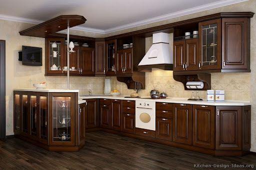 dark oak cabinets with white appliances - Google Search   Walnut .