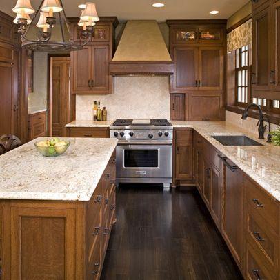 Oak Cabinets Dark Floor Design Ideas, Pictures, Remodel and Decor .