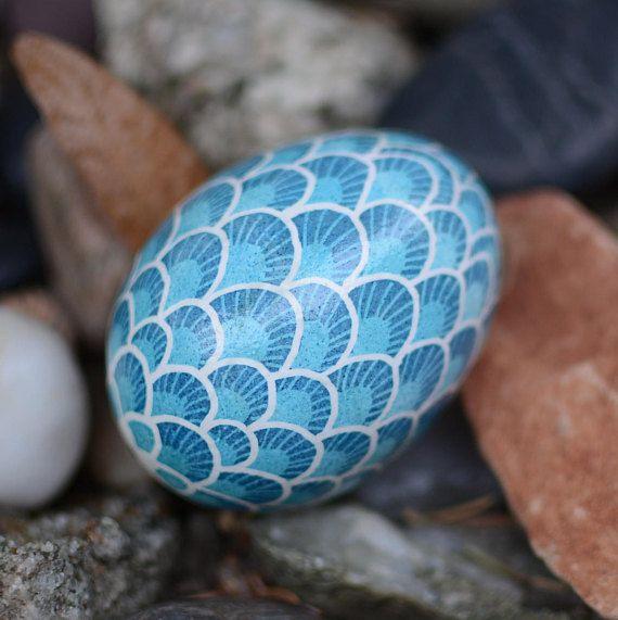 Ukrainian blue dragons egg Easter pysanky popular gift ideas .