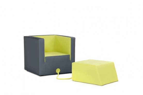 Decube Armchair Tied To Its Footrest By A Rope - DigsDi