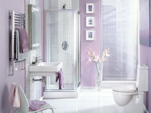 34 GORGEOUS FEMININE BATHROOM INSPIRATIONS | Purple bathroom decor .