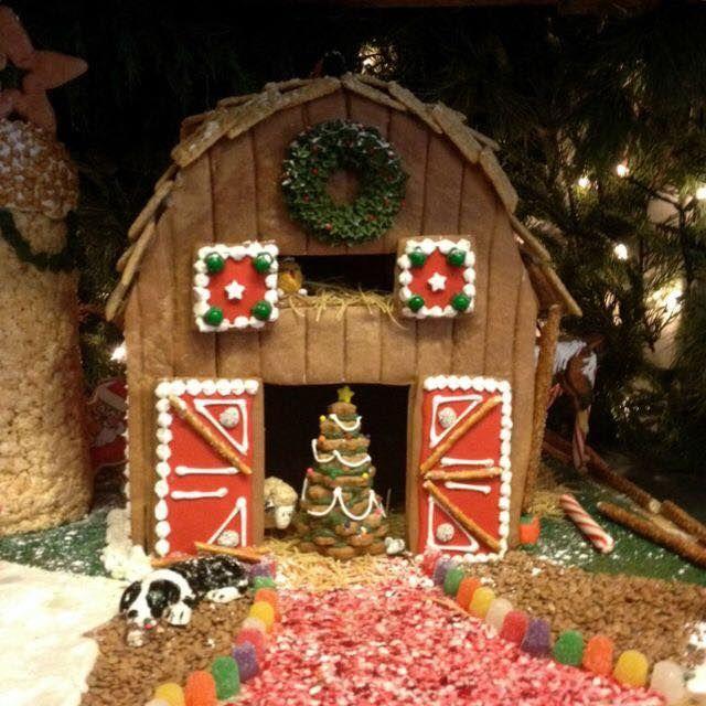 Gingerbread barn   Gingerbread house designs, Christmas .