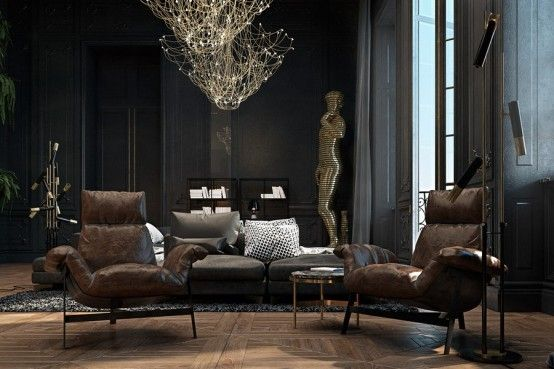 Dramatic And Refined Black Historical Apartment In Paris | Luxury .