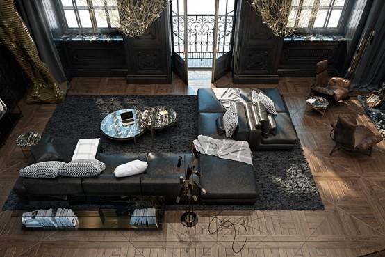 Dramatic And Refined Black Historical Apartment In Paris - DigsDi