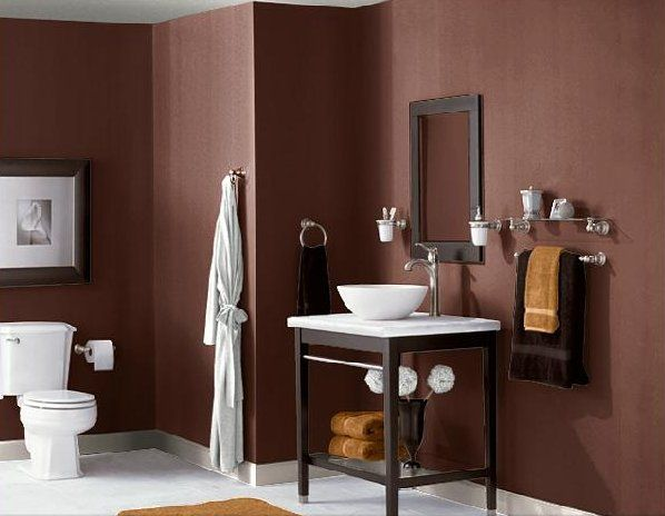 dramatic in the bathroom with Sherwin Williams 'polished mahogany .