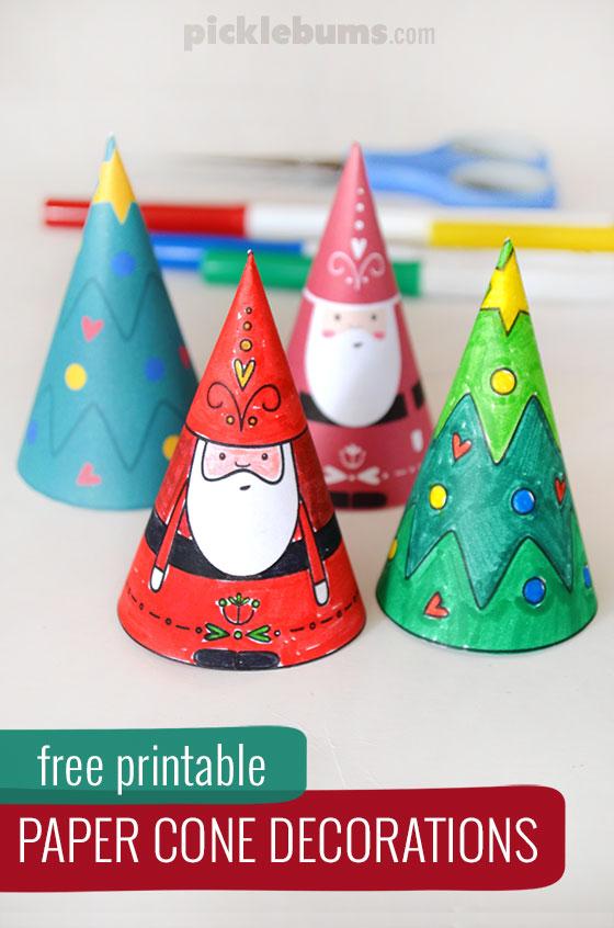 Paper Cone Christmas Decorations - Free Printable - Picklebu