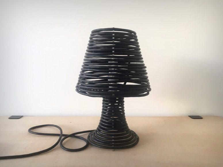 Eccentric Coil Lamp Made Of Colorful Cord - DigsDi