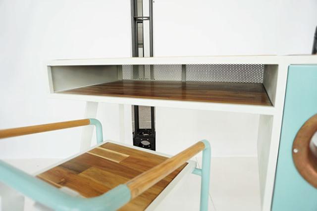 Eccentric Soundbox Desk With A Built-In Docking Station - DigsDi