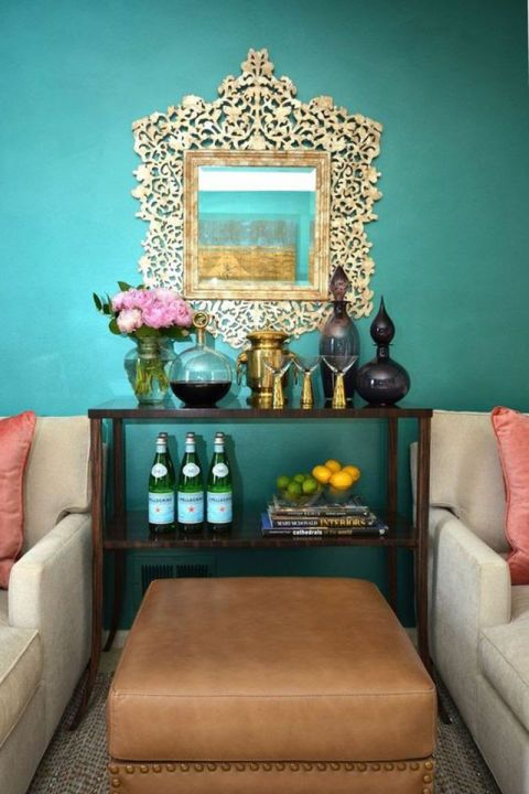 11 Ways To Add A Touch Of Summer To Your Home   Teal living rooms .