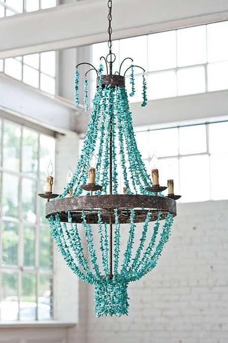 Turquoise Chandelier   Turquoise chandelier, Eclectic chandeliers .