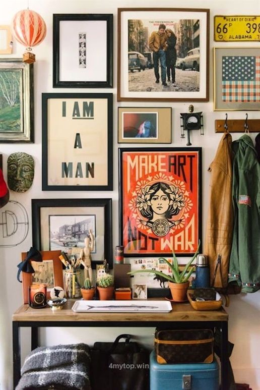 Stacked, eclectic wall art helps create a bohemian vibe | The .