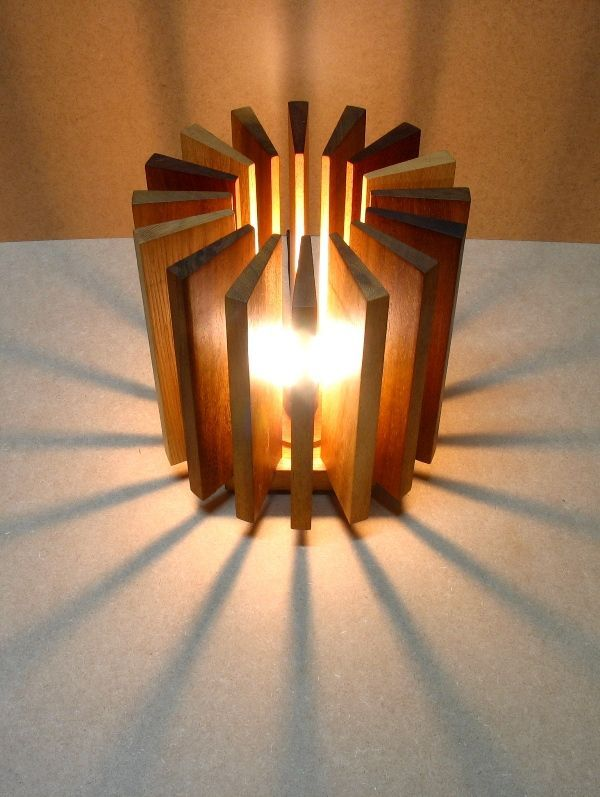 Lamp Made From Wooden Pieces | Wooden lamps design, Recycled lamp .