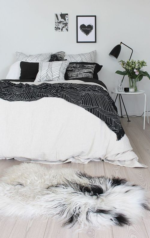 chic black and white bedroom decor, edgy apartment decor (With .