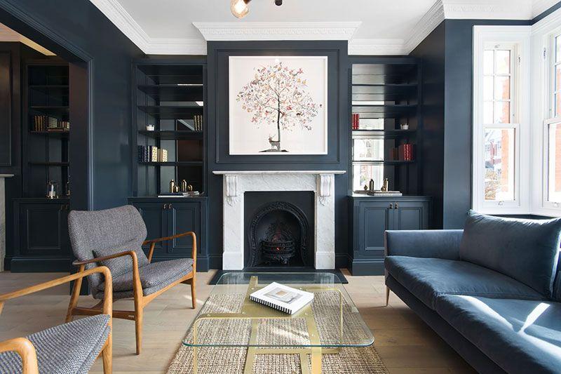 Элегантный таунхаус с темной гостиной в Лондоне 〛 ◾ Фото ◾Идеи .
