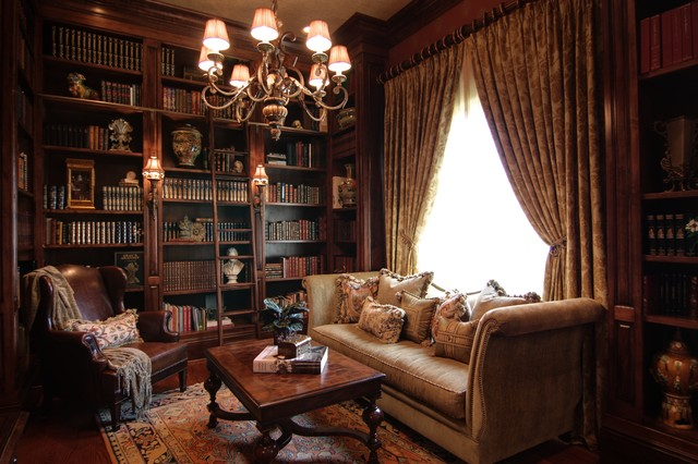 Cozy Elegant Library with Custom Bookcases - Victorian - Home .