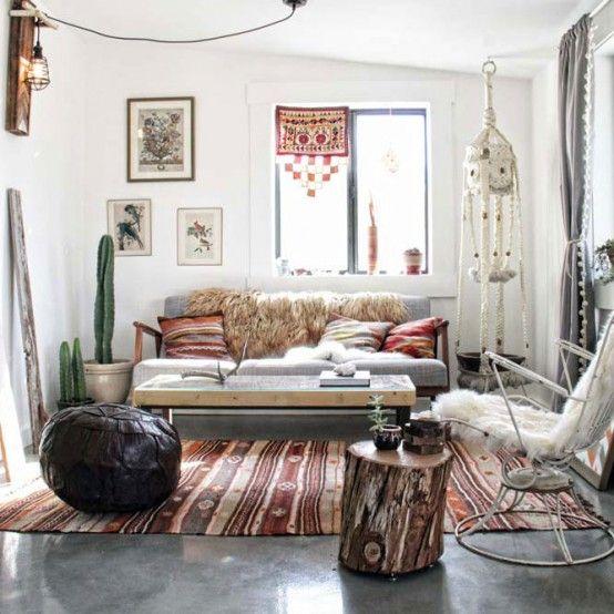 Elegant And Stylish Boho Inspired Desert House   Boho living room .
