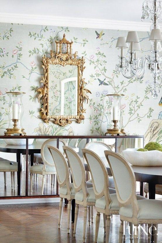 Gracie Wallpaper Chinoiserie Gilt Mirror Elegant Classy Feminine .