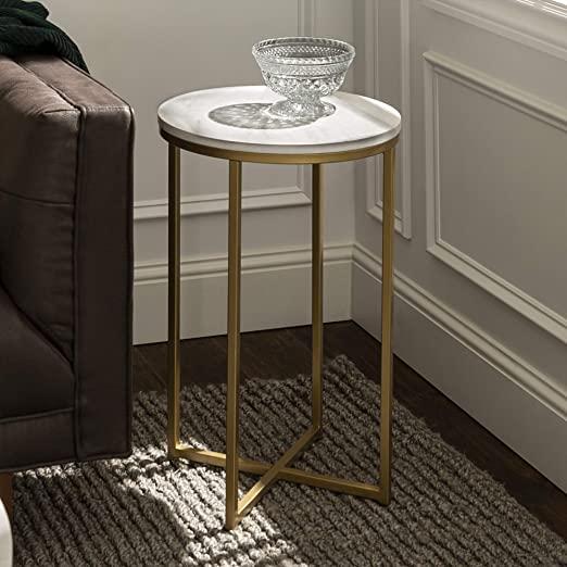 Amazon.com: Walker Edison Furniture Company Modern Round Side End .