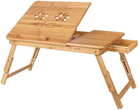 Amazon.com : HOMFA Bamboo Laptop Desk Adjustable Portable .