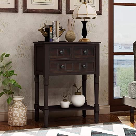 Amazon.com: Narrow Console Table, Baysitone Sofa Table with 3 .