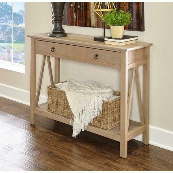 Accent Console Table Distressed Living Room Entryway Foyer Curved .