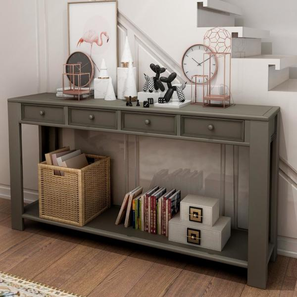 Boyel Living 30 in. Gray Entryway Hallway Sofa Console Table with .
