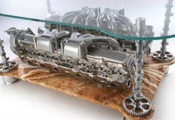 Car parts coffee table | Car part furniture, Automotive decor .