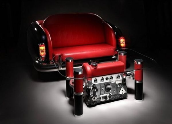 Car parts dismantled to make exquisite coffee tables and sofas .