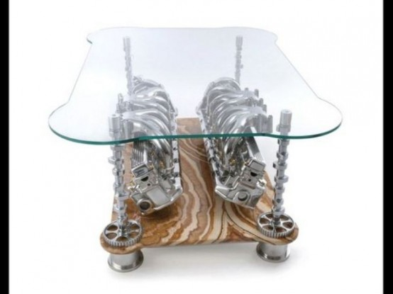 Exquisite Sofas And Coffee Tables With Car Parts - DigsDi