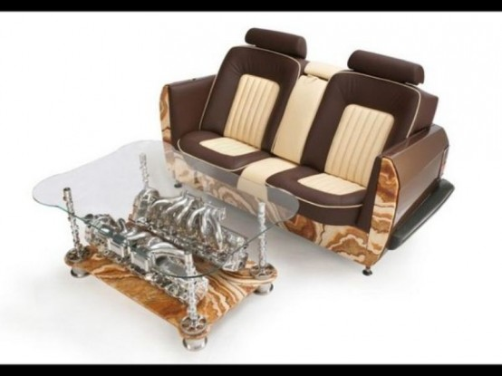 Unique Coffee Tables And Sofas Made Of Car Par