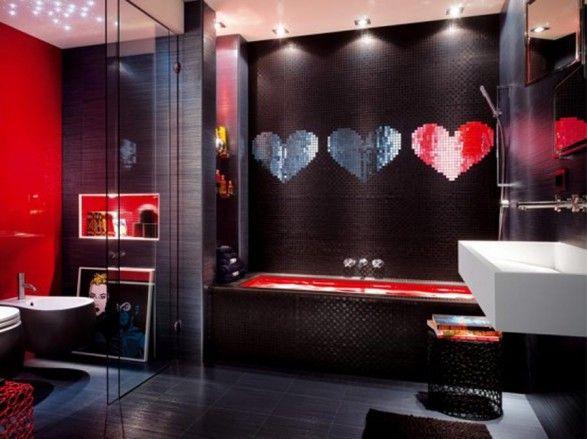 Cute ♥ mirror tile Black + Red   Unique bathroom design, Unique .
