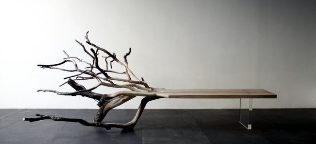 Bench design with natural wood looks like a fallen tree | Autumn .