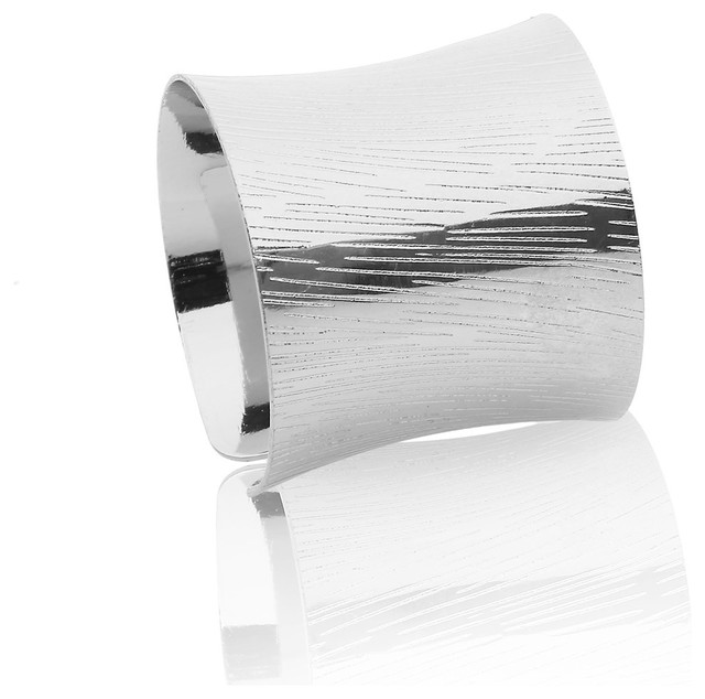 Classic Touch Silver Napkin Rings, Set of 6 - Contemporary .
