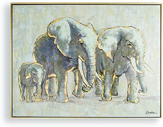 Amazon.com: Graham & Brown Metallic Elephant Family Handpainted .