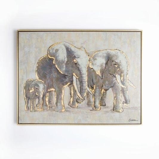 Shop Graham & Brown Metallic Elephant Family Handpainted Framed .