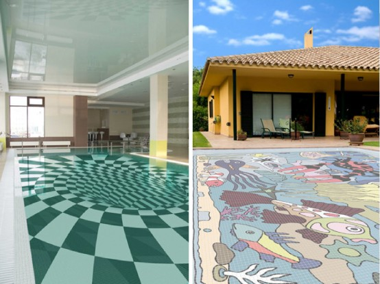 Fascinating Swimming Pool Design with Mosaic Glass Tiles by .