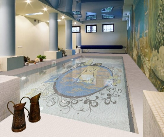 Fascinating Swimming Pool Design with Mosaic Glass Tiles by Glassdec