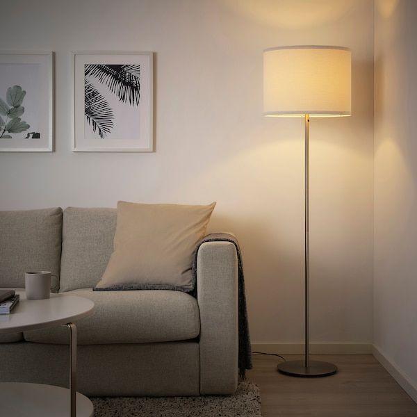 RINGSTA / SKAFTET Floor lamp with LED bulb, white, nickel plated .