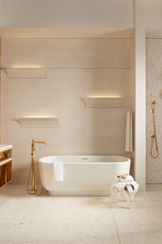 Pas Deco tiles by Ann Sacks for Kohler. Curved and flat concrete .
