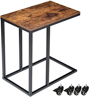 Amazon.com: VASAGLE Industrial Side Table, Mobile Snack Table for .