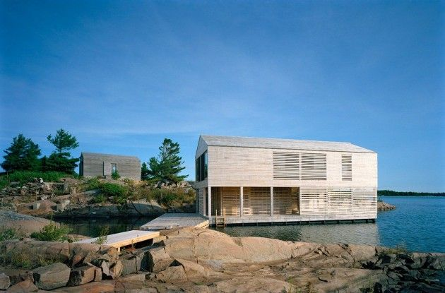 MOS #Architects designed the Floating #House on Lake Huron in .