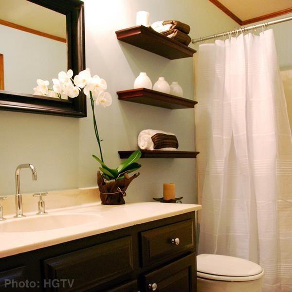 Zen Bathroom idea- floating shelves   Floating shelves, Floating .