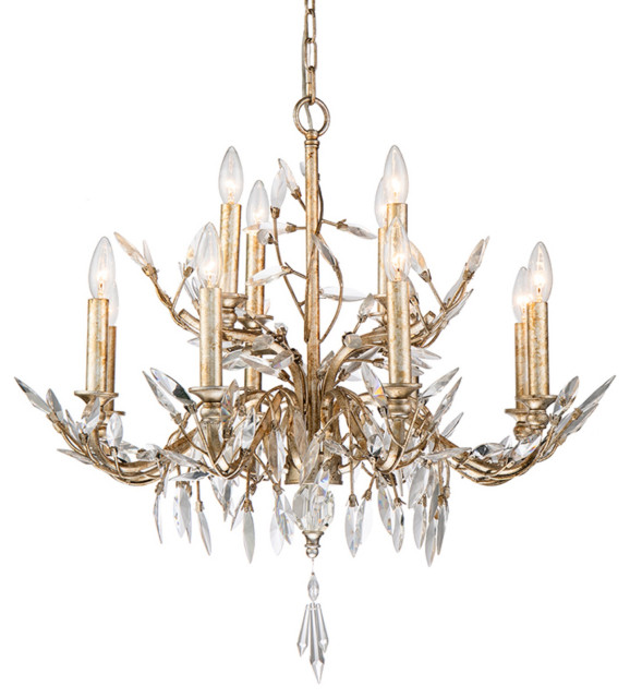 Silver and Antique Glazed 12 Light Chandelier With Flower Inspired .
