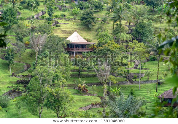 Traditional Balinese Houses Panoramic View Jungle | Nature Stock .