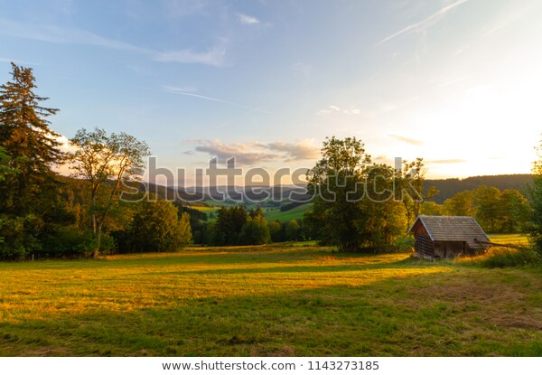 Small Wooden House Panoramic View On Stock Photo (Edit Now) 11432731