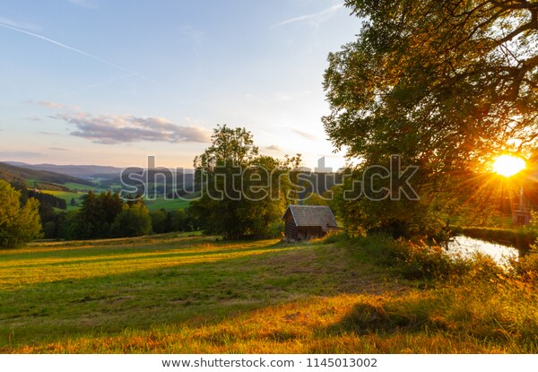 Small Wooden House Panoramic View On | Nature Stock Image 11450130